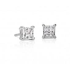 1 Carat Princess-Cut Diamond Earrings