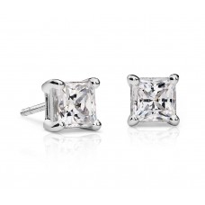 1 1/2 Carat Princess-Cut Diamond Earrings