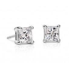 1 1/2 Carat Princess-Cut Diamond Earrings