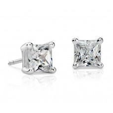 2 Carat Princess-Cut Diamond Earrings