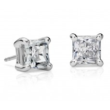 4 Carat Princess-Cut Diamond Earrings