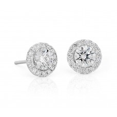 1 Carat Diamond Halo Earrings